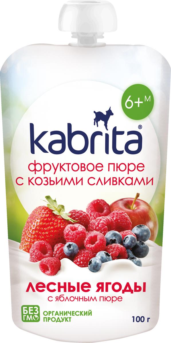 Пюре фруктовое с козьими сливками Лесные ягоды с яблочным пюре Kabrita, 6 шт х 100 г