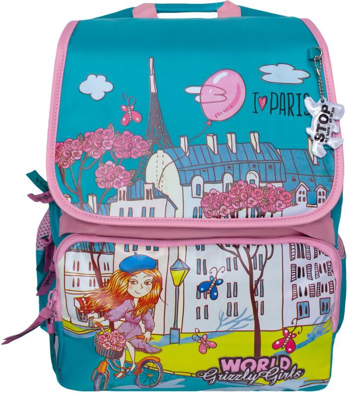 Grizzly Рюкзак школьный цвет бирюзовый розовый RA-672-51/2
