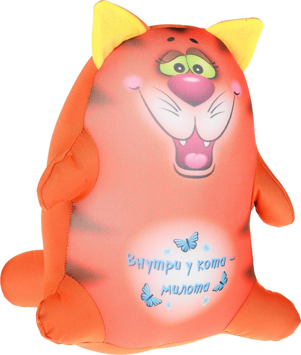 Штучки, к которым тянутся ручки Подушка-игрушка антистрессовая Котики Обормотики цвет оранжевый