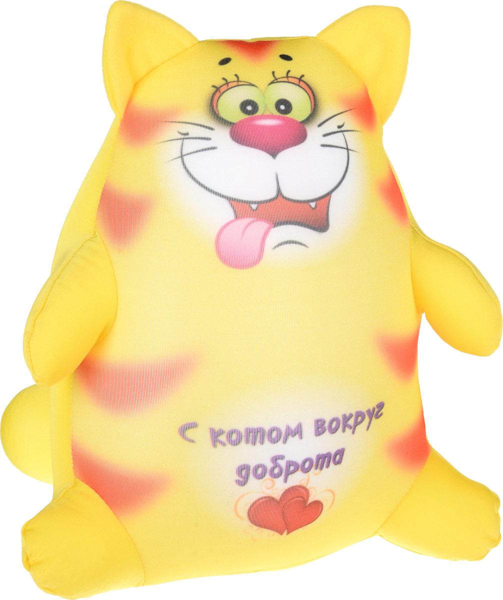 Штучки, к которым тянутся ручки Подушка-игрушка антистрессовая Котики Обормотики цвет желтый