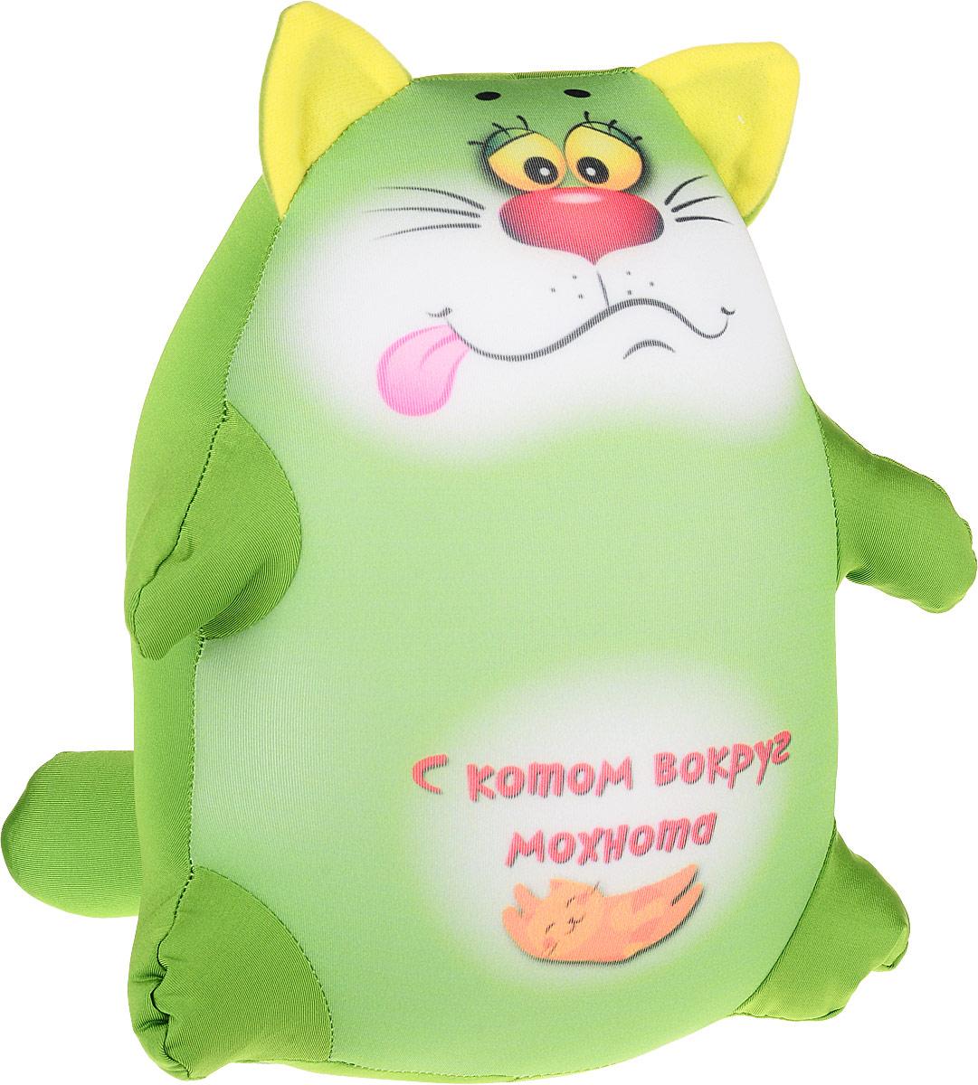 Штучки, к которым тянутся ручки Подушка-игрушка антистрессовая Котики Обормотики цвет зеленый