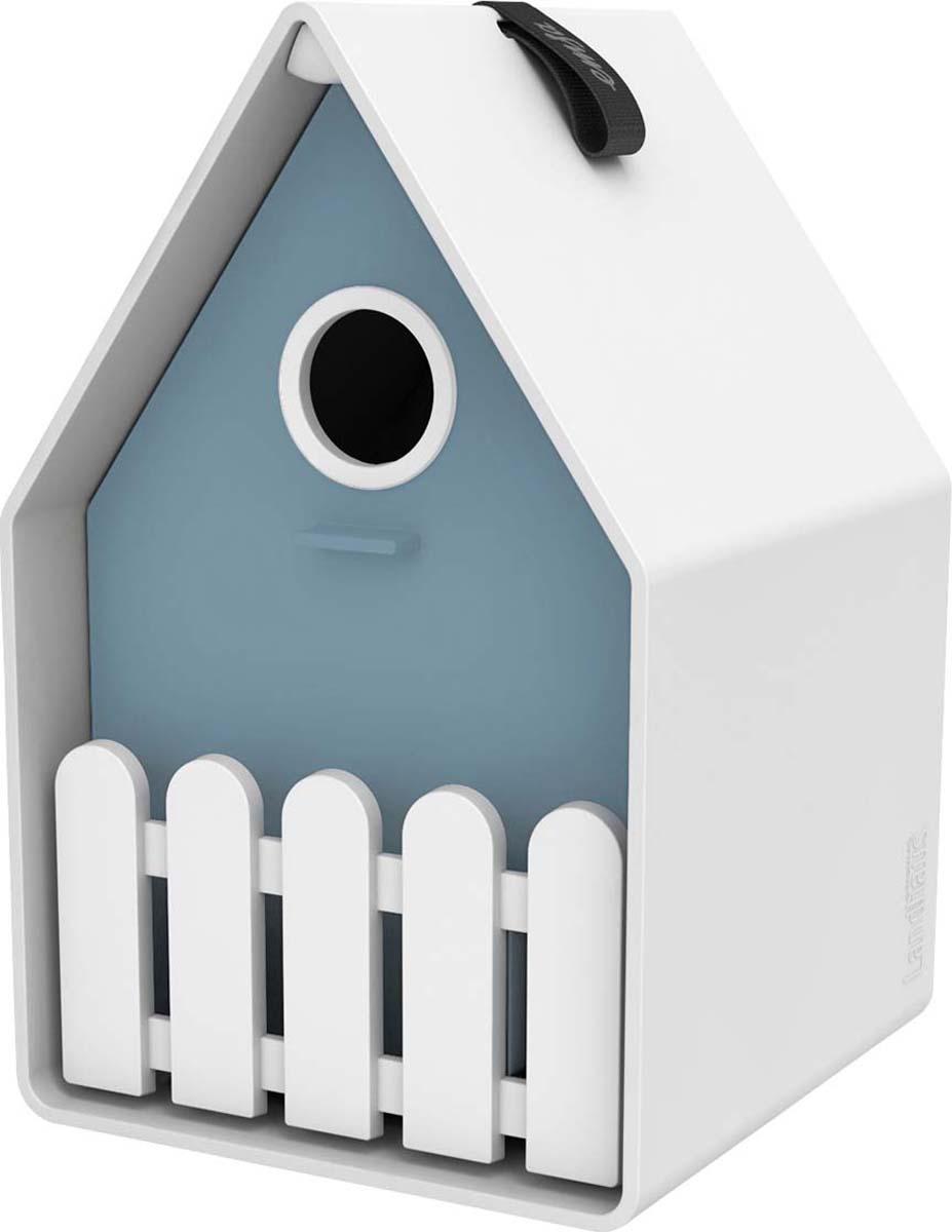 Скворечник Emsa Landhaus, цвет: серо-голубой, белый, 15 х 24 х 16 см ящик балконный emsa landhaus цвет темно зеленый 50 х 20 х 16 см