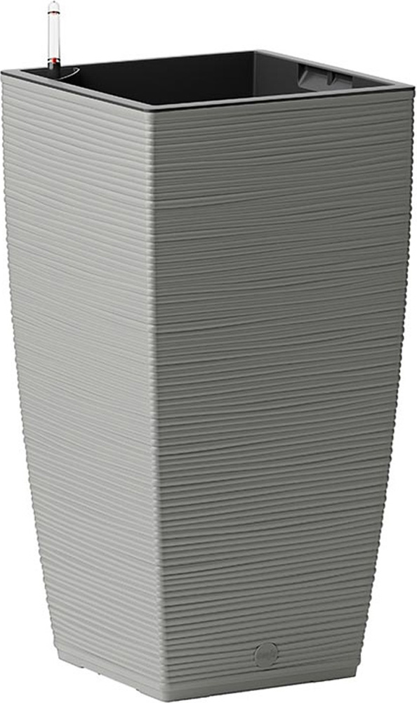 Кашпо Emsa Casa Cosy, с системой автополива, цвет: серый, 30 х 30 х 58 см cosy