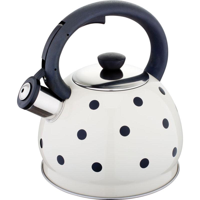 Чайник Rainstahl, со свистком, цвет: белый, черный, 2 л чайник rainstahl со свистком цвет белый 2 7 л 7642 27rs wk