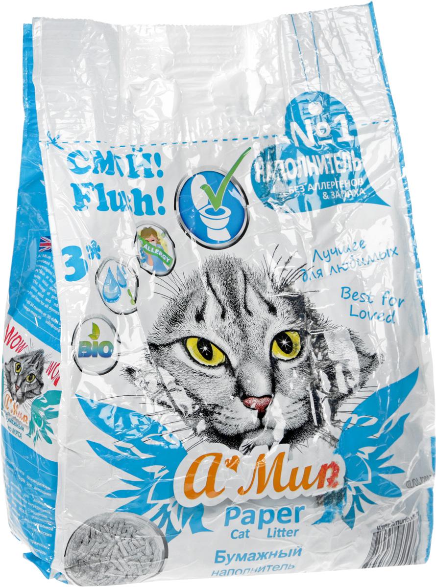 Наполнитель для кошачьего туалета A'MUR Бумажный, 2 кг (6 л) шарики дезодорирующие для кошачьего туалета unicharm мягкий мыльный запах 450 мл
