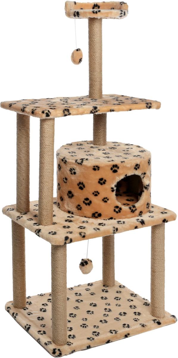 Меридиан, Домик-когтетока для кошек Круглый с игрушкой, джут, рис.Лапки (бежевый фон, черный рисунок), 65 х 50 х 153 см лежак для кошек меридиан ботинок 61 х 38 х 33 см