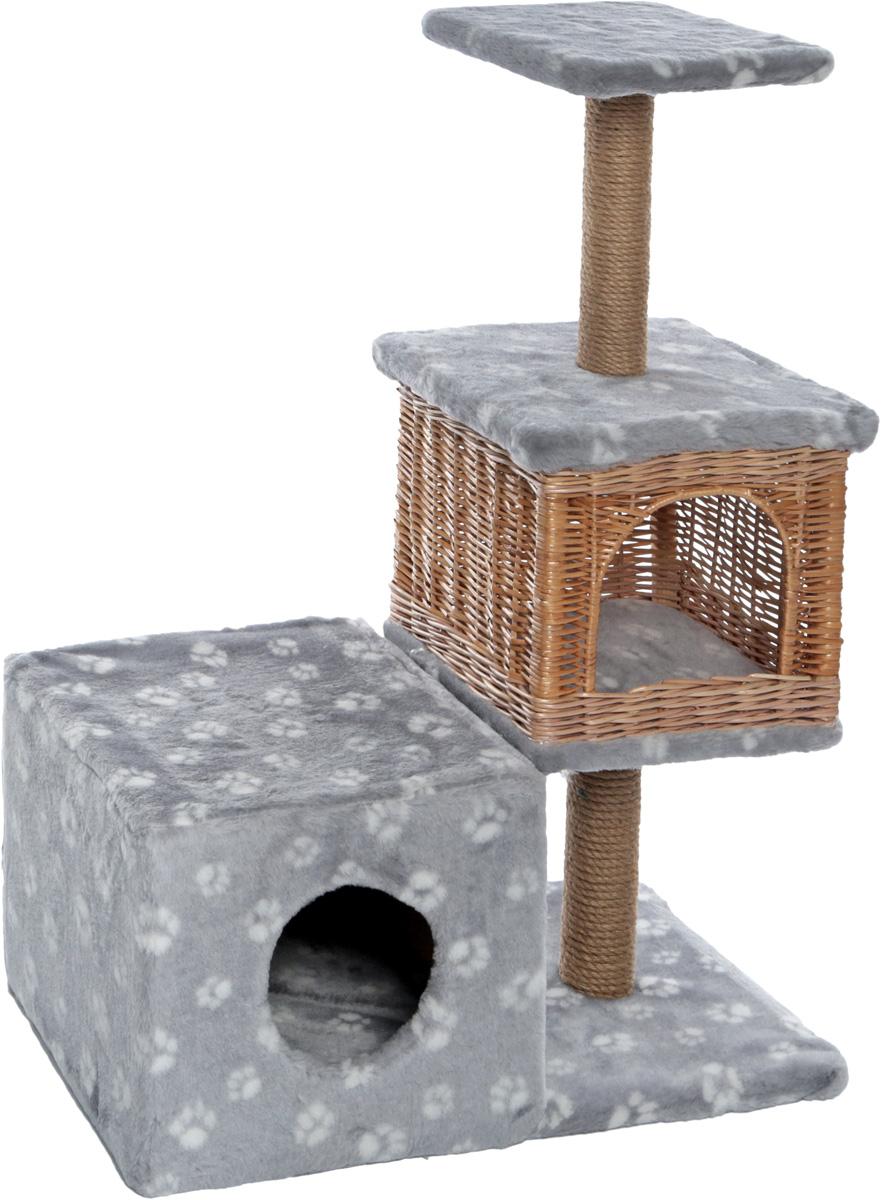 Домик-когтеточка Меридиан Квадратный трехэтажный с двумя окошками. Лапки, цвет: серый, белый, 66 х 36 х 94 см furniture queenstown