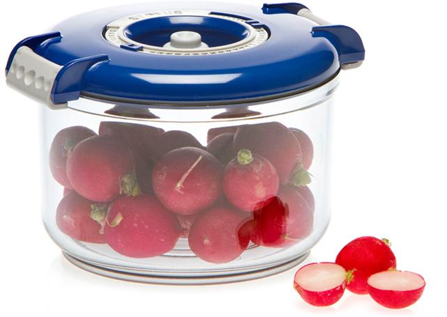 Фото - Контейнер вакуумный Status, цвет: прозрачный, синий, 0,75 л контейнер вакуумный status цвет прозрачный зеленый 4 5 л