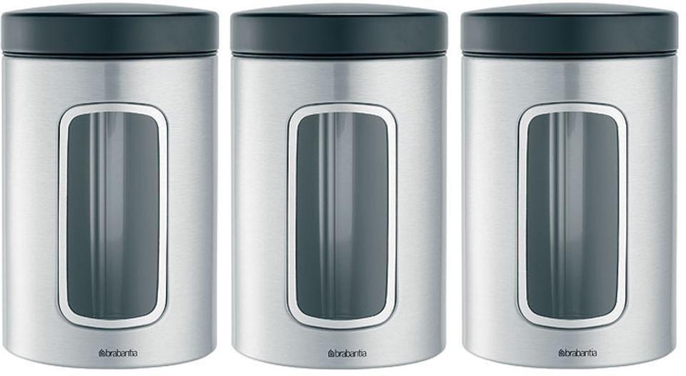 Набор контейнеров для сыпучих продуктов Brabantia, цвет: стальной матовый FPP, 1,4 л, 3 шт. 335341 candy fpp 609