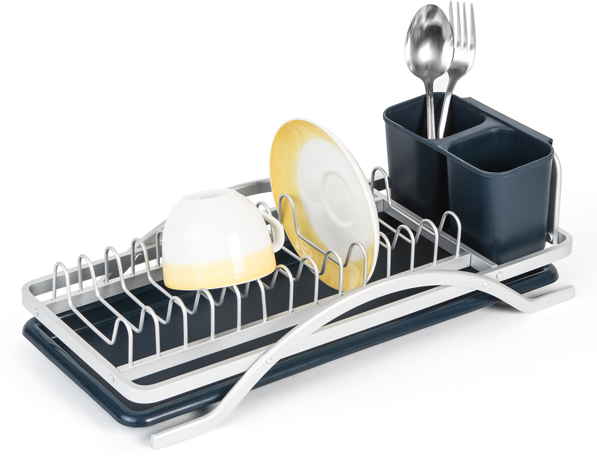 Сушилка для посуды Tatkraft Sky, 43 х 12,5 х 20 см10963Tatkraft SKY Сушилка для посуды из анодированного алюминия, L43xH12.5xD20 cm. Держатель для столовых приборов со сливными отверстиями. Поднос собирает избыток воды и сохраняет поверхность сухой. Анодированная алюминиевая сушилка. Прочная. Материал: анодированный алюминий, ABS-пластик Рекомендуем!