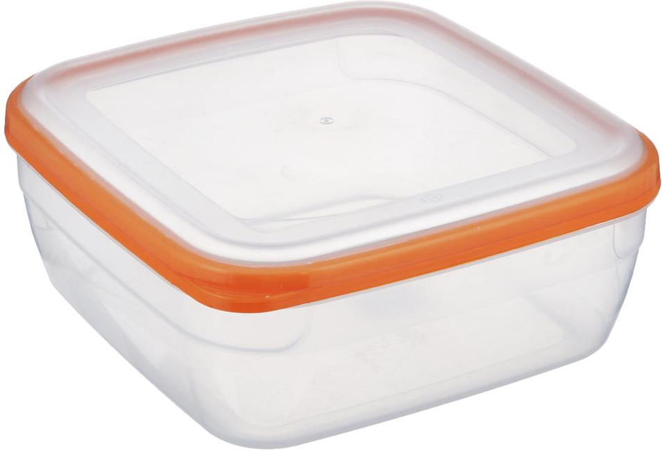 Контейнер Полимербыт Премиум, цвет: прозрачный, оранжевый, 2,2 л контейнер полимербыт лайт цвет голубой 3 л