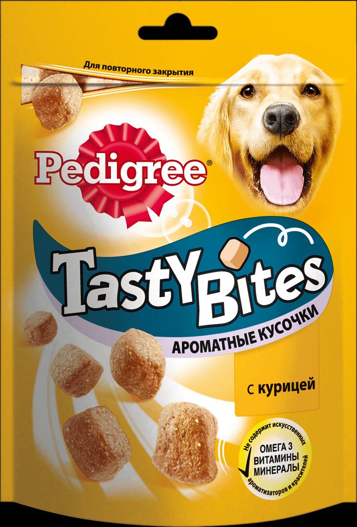 Лакомство для взрослых собак Pedigree Tasty Bites, ароматные кусочки с курицей, 130 г82437Ароматные кусочки Pedigree Tasty Bites с курицей — отличное угощение в любое время. Аппетитные маленькие ломтики идеально подходят, чтобы побаловать вашего любимца. В состав Pedigree Tasty Bites входит кальций, который поддерживает здоровье костей, витамины, обеспечивающие естественную защиту, и омега 3 для активной жизни вашего любимца. Упаковку Pedigree Tasty Bites с замком можно открывать и закрывать когда удобно. Рекомендации по кормлению: Собаки миниатюрных пород (2-3кг) - не более 2 штук в день, собаки маленьких пород (4-9кг) - не более 3 штук в день, собаки средних пород (10-15кг) - не более 7 штук в день, собаки средних и крупных пород (16-24кг) - не более 10 штук в день, собаки крупных пород (больше 25кг) - не более 14 штук в день. Необходимо уменьшать суточную норму кормления Состав: Злаки, мясо и субпродукты (в том числе 4% курицы), продукты переработки овощей, масла и жиры, минералы, семена и травы Не содержит: Искусственный ароматизаторов и красителей Пищевая ценность (100г): Белки – 19,6 г; жиры – 11 г; зола – 8,3 г; клетчатка – 2 г; кальций – 1,7 г, влажность – 14г; витамин A – 500,5 МЕ; витамин E – 5 мг; моносульфат железа – 5 мг, омега-3 жирные кислоты – 135,5 мг Энергетическая ценность (100 г): 338 ккал