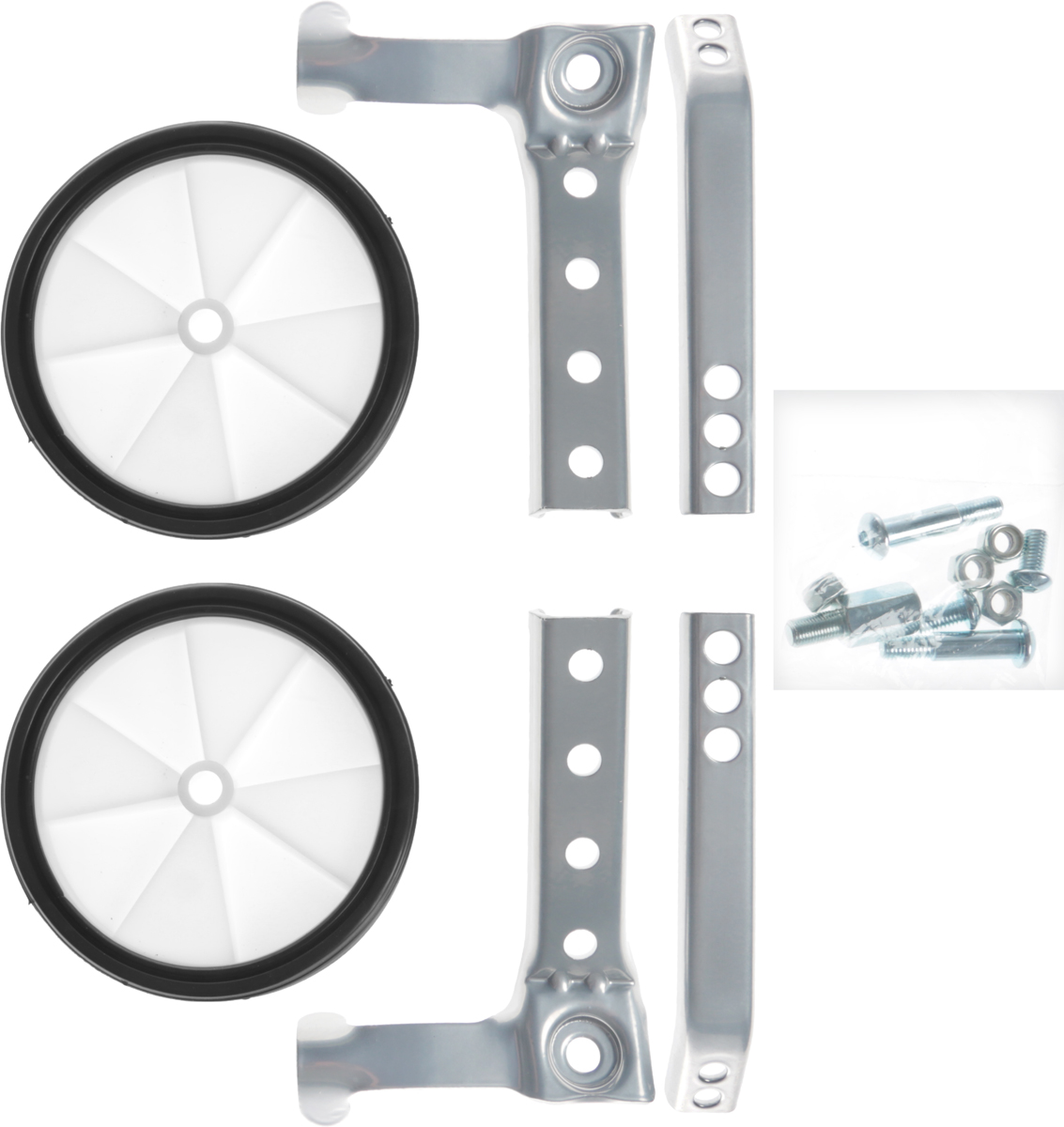 Колеса боковые для детских велосипедов 16-24 с переключением скоростей M-Wave 701 W701 WДополнительные боковые колеса M-WAVE 701 W для детских и подростковых велосипедов 16-24 с переключением скоростей. Предназначены для получения первичных навыов езды на велосипеде, отработки чувства равновесия и баланса, подстраховывая велосипедиста от падения набок. Установочный комплект допускает монтаж на велосипеды с диаметром колес от 16 до 24 дюймов, включая модели с переключением скоростей. При установке отрегулируйте высоту колес так, чтобы они были слегка приподняты над поверхностью дороги. Таким образом ребенок сразу получает навык езды на основных колесах, а боковые не мешают ему набирать скорость и маневрировать, в тоже время предотвращая падения при трогании и остановке. Рекомендуем!