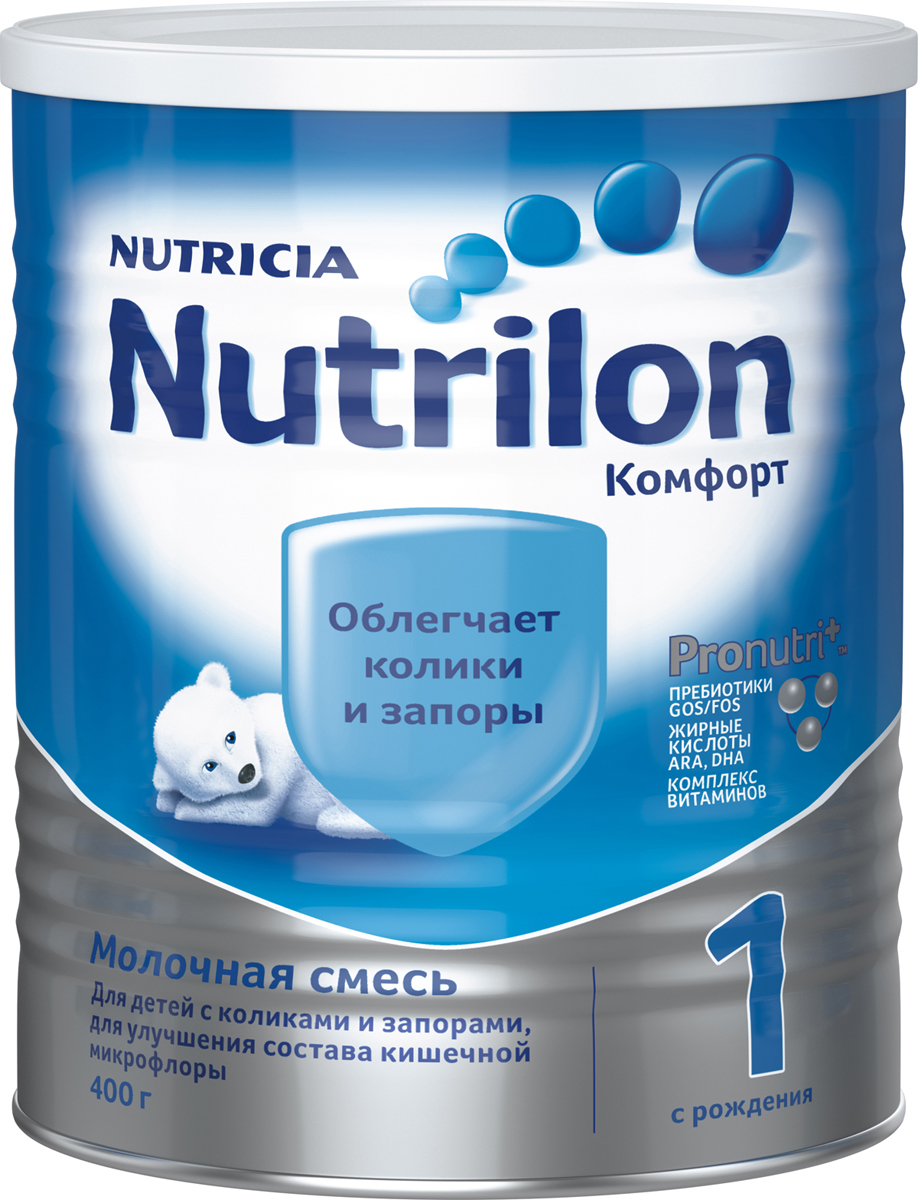 """Nutrilon Комфорт 1 специальная молочная смесь """"PronutriPlus"""", с рождения, 400 г"""