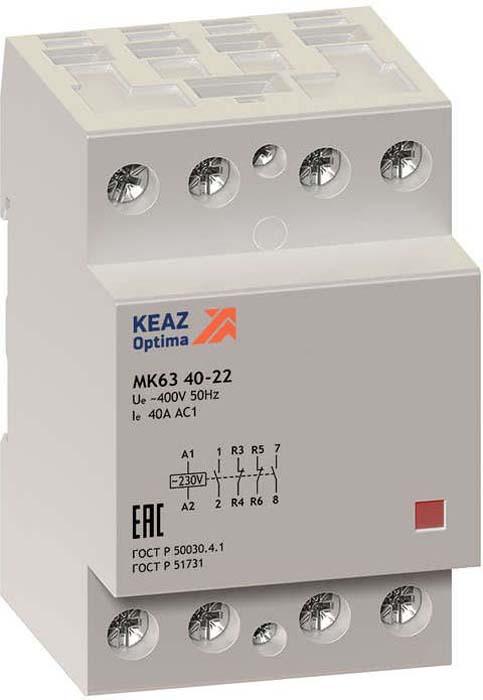 Контактор модульный КЭАЗ, OptiDin МК63 4040 230AC. 114128114128Модульный контактор на номинальный ток 40 А габаритом 3 модуля с 4 главными замыкающими контактами.