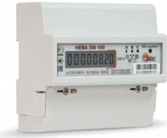 Счетчик электроэнергии Тайпит Нева 306, 3ф 5-100А. 6056055 цена