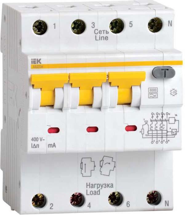 Выключатель дифференциального тока автоматический IEK, 4п (3P+N) C 10А 30мА тип A 6кА АВДТ-34 4мод. MAD22-6-010-C-30 дифференциальный автомат ekf proxima авдт 63 16а 30ма c электронный тип a 6ка