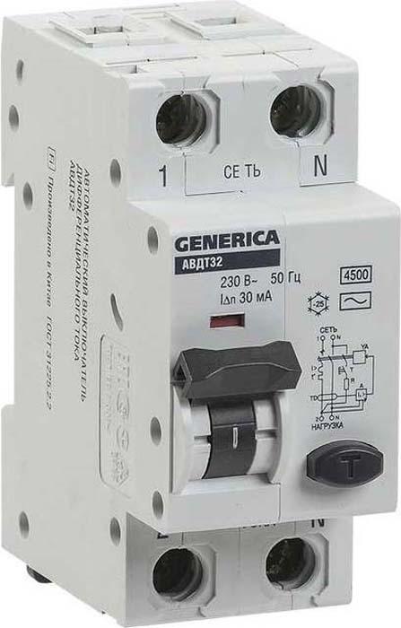 Выключатель дифференциального тока автоматический Generica, C32 30мА АВДТ 32. MAD25-5-032-C-30