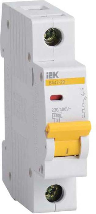 Фото - Выключатель автоматический модульный IEK, 1п B 63А 4.5кА ВА 47-29. MVA20-1-063-B выключатель автоматический iek 3п 63а с ва47 29 4 5ка