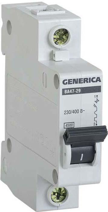 Выключатель автоматический модульный Generica, 1п С ВА47-29 25А 4.5кА. MVA25-1-025-C цена