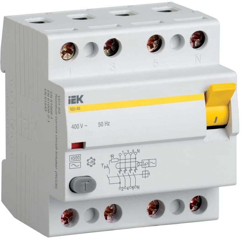 Выключатель дифференциального тока IEK, 4п 80А 300мА тип AC ВД1-63. MDV10-4-080-300 1 63 iek mdv10 4 063 030