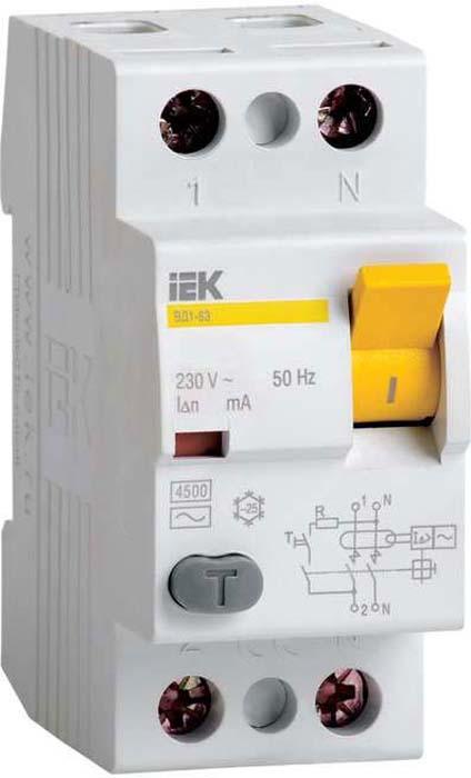 Выключатель дифференциального тока IEK, 2п 40А 300мА тип AC ВД1-63. MDV10-2-040-300MDV10-2-040-300Быстродействующий защитный выключатель, реагирующий на дифференциальный ток, без встроенной защиты от сверхтоков. Предназначен для защиты человека от поражения электрическим током при случайном непреднамеренном прикосновении к токоведущим частям электроустановок и предотвращает возникновение пожаров вследствие протекания токов утечки на землю. Не имеет собственного потребления электроэнергии и обладает высокой механической износостойкостью.