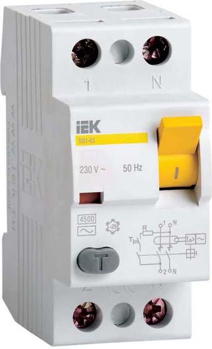 Выключатель дифференциального тока IEK, 2п 32А 30мА тип A ВД1-63. MDV11-2-032-030 дифференциальный автомат ekf proxima авдт 63 16а 30ма c электронный тип a 6ка
