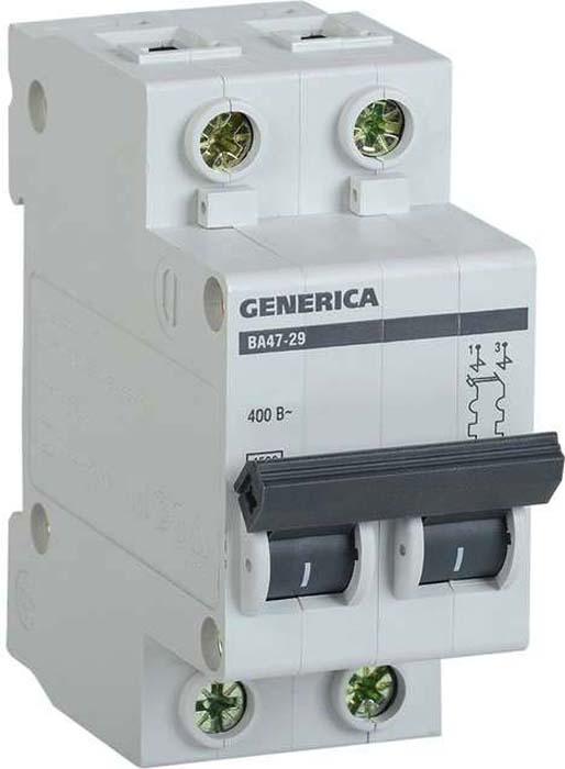 Выключатель автоматический модульный Generica, 2п С ВА47-29 63А 4.5кА. MVA25-2-063-C цена