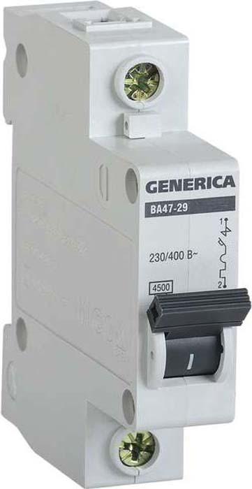 Выключатель автоматический модульный Generica, 1п С ВА47-29 40А 4.5кА. MVA25-1-040-C