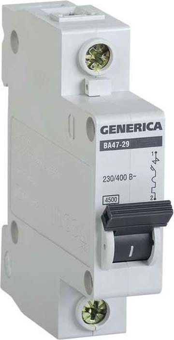 Выключатель автоматический модульный Generica, 1п С ВА47-29 50А 4.5кА. MVA25-1-050-C цена