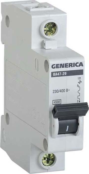 Выключатель автоматический модульный Generica, 1п С ВА47-29 63А 4.5кА. MVA25-1-063-C