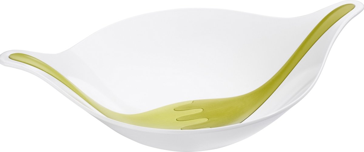 Салатник Koziol Leaf, цвет: белый, зеленый, 3 л салатник koziol leaf 40 2 20 28 8 см белый