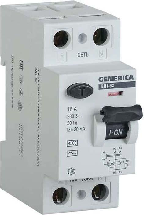 Выключатель дифференциального тока Generica, 2п 16А 30мА тип AC ВД1-63. MDV15-2-016-030 дифференциальный автомат ekf proxima авдт 63 16а 30ма c электронный тип a 6ка
