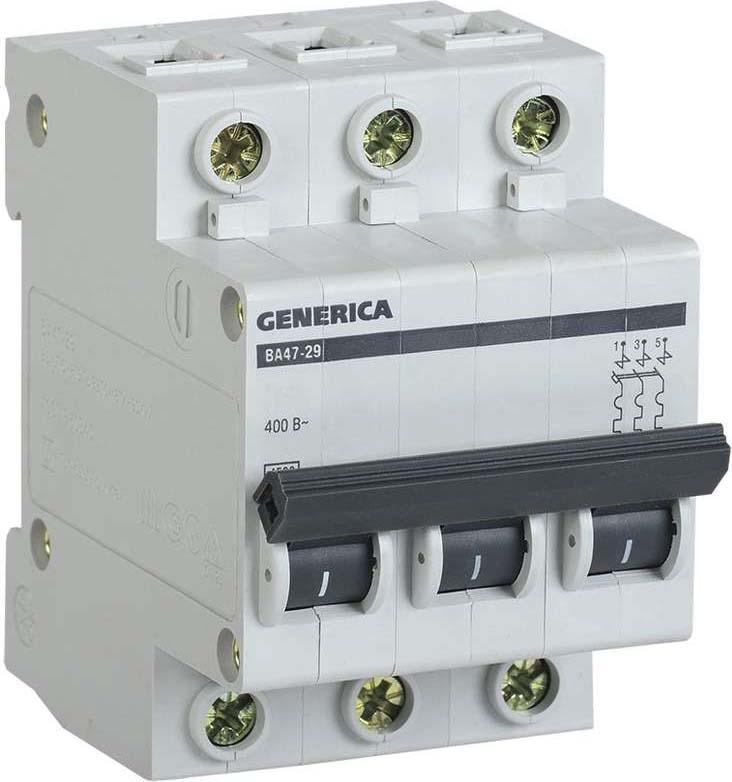 Выключатель автоматический модульный Generica, 3п С ВА47-29 50А 4.5кА. MVA25-3-050-CMVA25-3-050-CАвтоматические выключатели GENERICA предназначены для защиты распределительных и групповых цепей, имеющих различную нагрузку: – электроприборы, освещение – выключатели с характеристикой В, – двигатели с небольшими пусковыми токами (компрессор, вентилятор) – выключатели с характеристикой C, – двигатели с большими пусковыми токами (подъемные механизмы, насосы) – выключатели с характеристикой D. Автоматические выключатели ВА47-29 рекомендуются к применению в вводно-распределительных устройствах для жилых и общественных зданий. Два типа защиты от перегрузки и короткого замыкания. Усовершенствованная дугогасительная система: увеличенный срок службы, повышенная устойчивость к токам короткого замыкания. Возможность соединения шиной PIN. Широкий диапазон рабочих температур от - 40 до +50 °С. Увеличенная рукоятка управления, облегчающая включение/выключение. Насечки на контактных зажимах снижают тепловые потери и увеличивают механическую устойчивость соединения.