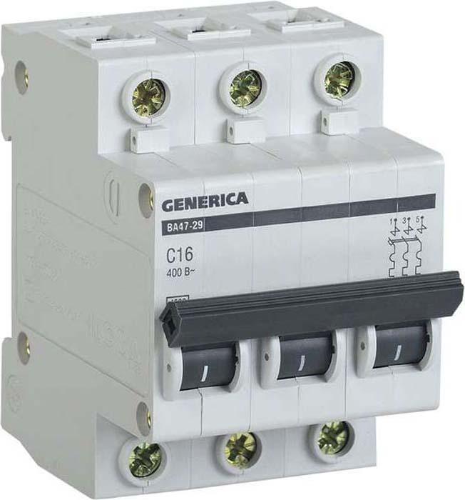 Выключатель автоматический модульный Generica, 3п С ВА47-29 16А 4.5кА. MVA25-3-016-C цена