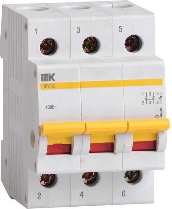 Выключатель нагрузки IEK, ВН-32 32А/3П. MNV10-3-032MNV10-3-032Выключатели нагрузки IEK служат для включения, проведения и отключения номинального тока в нормальных условиях эксплуатации, проведения тока в аварийных режимах, например, при коротком замыкании, а также для выполнения функций разъединения.