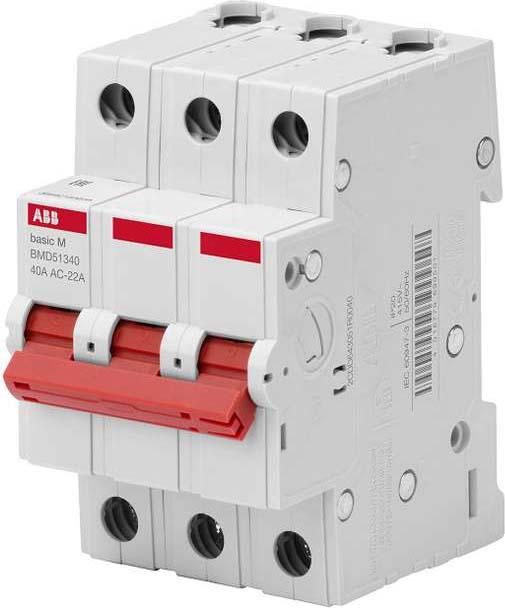 Выключатель нагрузки ABB, 3P, 40A, BMD51340 телефонная розетка abb bjb basic 55 шато 1 разъем цвет черный