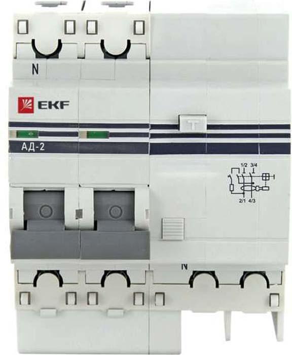 Дифференциальный автомат EKF PROxima, АД-2 40А/100мА, C, AC, электронный, защита 270В, 4,5кА ограничитель ekf opv d1