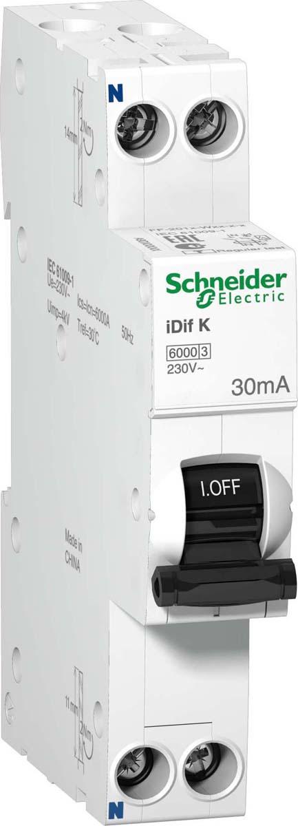 Автоматический выключатель Schneider Electric, дифференциального тока, 2п C, 10А, 30мА, тип AC, 6кА, iDif, K 1мод, A9D63610 дифференциальный автомат ekf proxima авдт 63 16а 30ма c электронный тип a 6ка