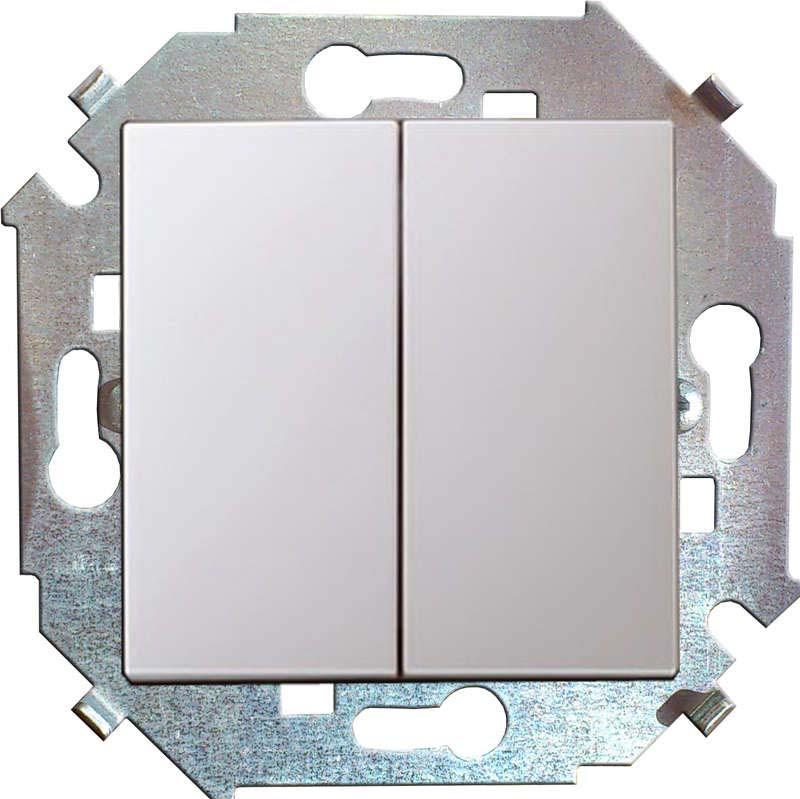Фото - Механизм выключателя Simon 15, двухклавишный, СП, 16А, IP20, цвет: белый, 1591398-030 механизм розетки simon 15 tv сп одиночная цвет белый 1591475 030