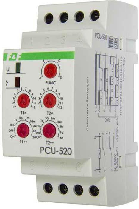 Реле времени Евроавтоматика F&F PCU-520, многофункциональный, 230В, 2х8А, IP20. EA02.001.012EA02.001.012Назначение:Многофункциональное реле времени PCU-520 предназначено для включения/выключения потребителей в системах промышленной и бытовой автоматики: в вентиляционных, отопительных, осветительных и т.п. на заданный отрезок времени.Принцип работы:Задержка выключения на время t (А)После подачи напряжения питания контакты исполнительного реле переключаются в позиции 1-6 и 2-7 на время t1, по истечении которого контакты возвращаются в положения 1-5 и 2-8 на время t2. Затем контакты снова переключаются в по-ложения 1-6 и 2-7.Задержка включения (В)После подачи напряжения питания контакты исполнительного реле остаются в исходных положениях — 1-5 и 2-8. По истечении времени t1 контакты переключаются в позиции 1-6 и 2-7 на время t2, затем возвращаются в позиции 1-5 и 2-8.Циклическая работа с задержкой выключения (С)После подачи напряжения питания контакты исполнительного реле переключаются в положения 1-5 и 2-7, по истечении выдержки времени t1 контакты возвращаются в положения 1-6, 2-8 на время t2, после чего циклы повторяются до отключения питания.Циклическая работа с задержкой включения (D)Работа начинается с задержки включения реле на время t1, затем циклическая работа происходит аналогично функции С.