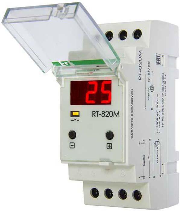 Регулятор температуры Евроавтоматика F&F RT-820M, 230В, 16А, 1Z, IP20. EA07.001.007EA07.001.007Регулятор температуры RT-820M применяется для контроля и поддержания температурного режима.Температурный режим устанавливается и регулируется, а затем поддерживается на заданном уровне путем включения/выключения нагревательной или охлаждающей установки по сигналам выносного температурного датчика.Режим работы (нагрев/охлаждение) устанавливается путем выбора настроек. Диапазон регулируемых температур составляет от -20 до +130С. Комплектуется выносным датчиком температуры.Применяется в помещениях бытового и небытового назначения, в регуляции водно-отопительных систем.
