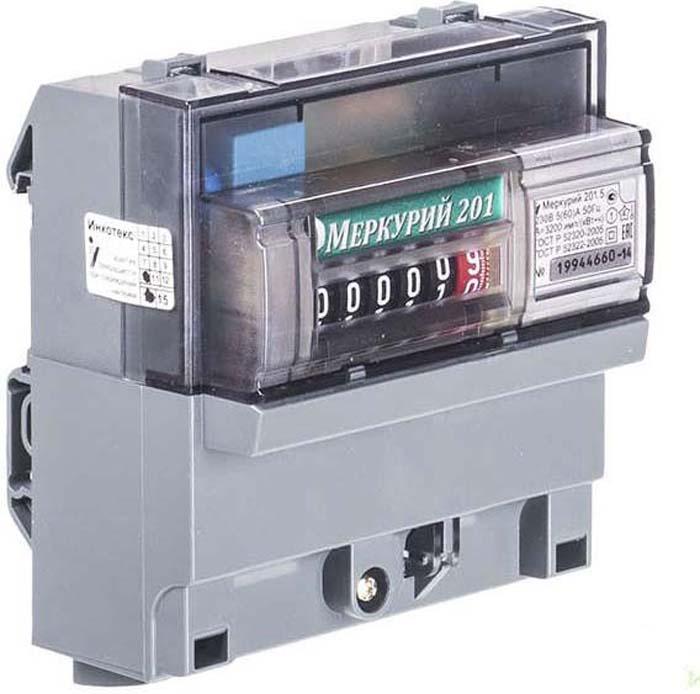 Счетчик Меркурий, цвет: серый, 201.5, 1 фаза, 5-60А. 32419 счетчик электроэнергии меркурий 230 аrt 01 5 60а 380в двухтарифный