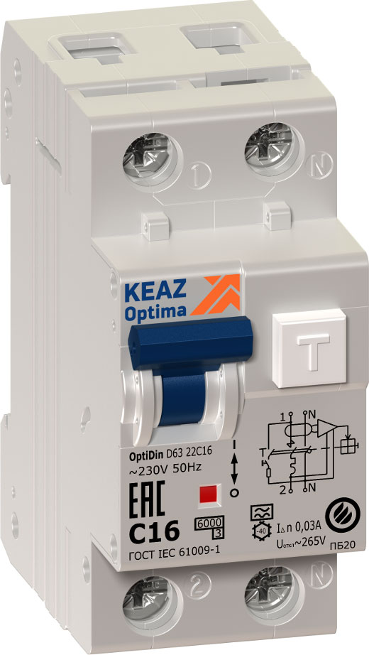 Выключатель дифференциального тока автоматический КЭАЗ, 2п (1P+N) C 16А 30мА тип A 6кА OptiDin D63 УХЛ4 2мод. 103507 сименс siemens 5sj61167cr стандартный одноступенчатый 16а мини выключатель 1p бытовой выключатель питания