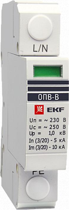 Ограничитель импульсных напряжений EKF PROxima, ОПВ-B/1P In 30кА 400В ограничитель ekf opv d2