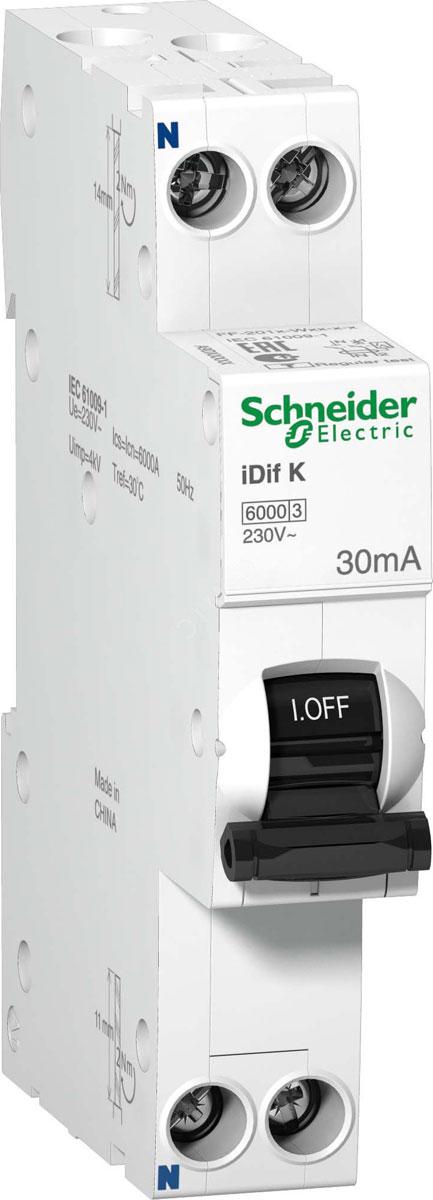 Автоматический выключатель Schneider Electric, дифференциального тока, 2п C, 16А, 30мА, тип AC, 6кА, iDif, K 1мод. A9D63616 дифференциальный автомат ekf proxima авдт 63 16а 30ма c электронный тип a 6ка