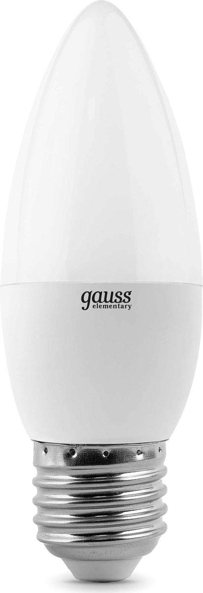 Лампа светодиодная Gauss Elementary, свеча, цвет: белый, 6Вт, 2700К, E27, 420лм, 180-240В. 33216 лампа светодиодная gauss ld53126