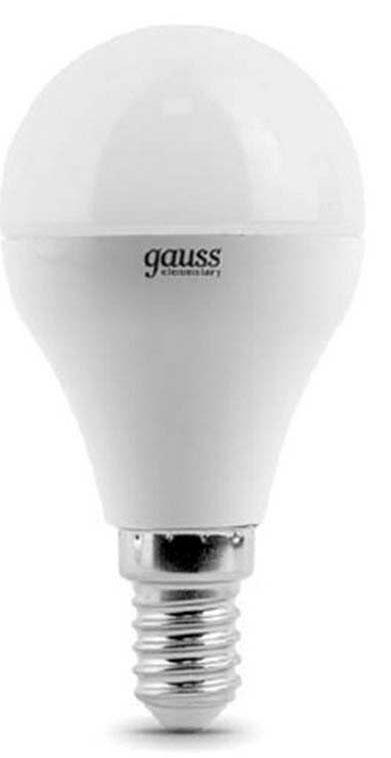 Лампа светодиодная Gauss Elementary, шар, цвет: белый, 6Вт, 2700К, E14, 420лм, 180-240В. 53116 лампа светодиодная gauss 132517103
