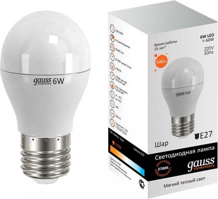 Лампа светодиодная Gauss Elementary, шар, цвет: белый, 6Вт, 2700К, E27, 420лм, 180-240В. 53216 лампа светодиодная gauss ld53126