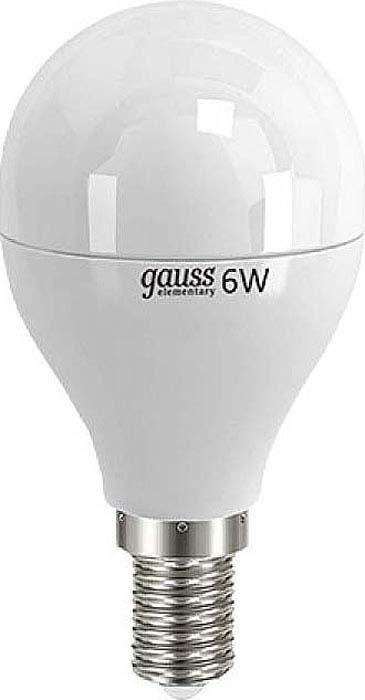 Лампа светодиодная Gauss Elementary, шар, цвет: белый, 6Вт, 4100К, E14, 420лм, 180-240В. 53126 лампа светодиодная gauss ld53126